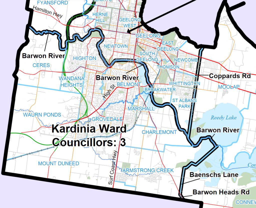 Kardinia ward map