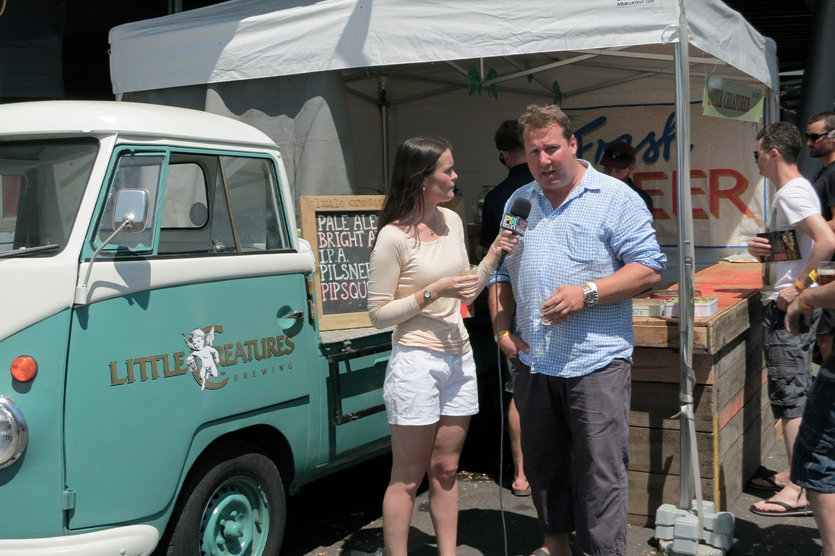 Talking with a local reporter from Pulse radio about the Great Australian Beer Festival