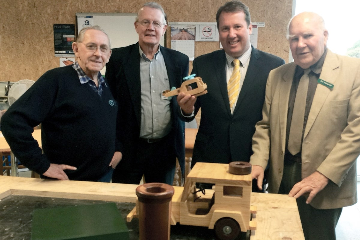 At a Men's shed to discuss funding opportunities