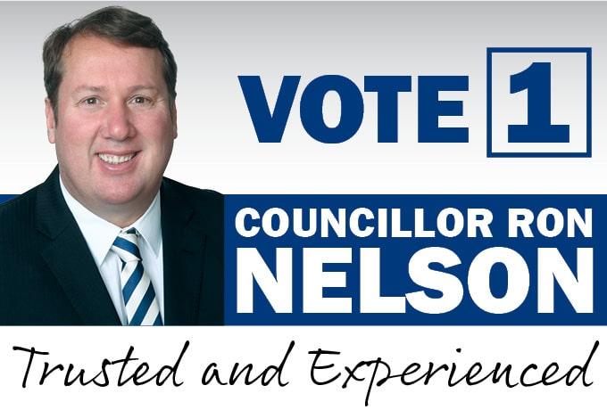 Vote 1 Ron Nelson mobile header graphic