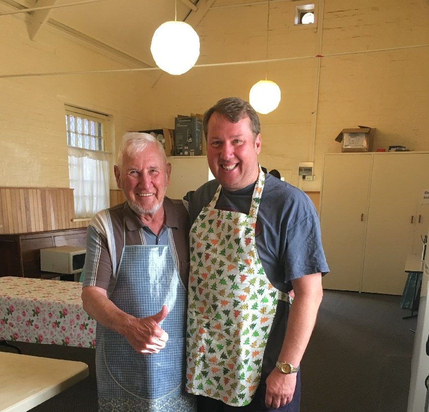With my Father at Christ Church, cooking Christmas Breakfast for the homeless